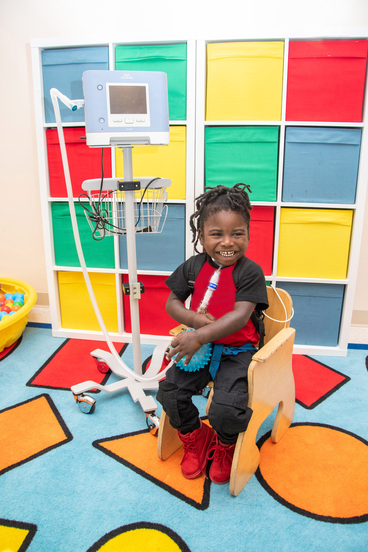 Young Boy utilizing Children's Durable Medical Equipment at Orlando PPEC